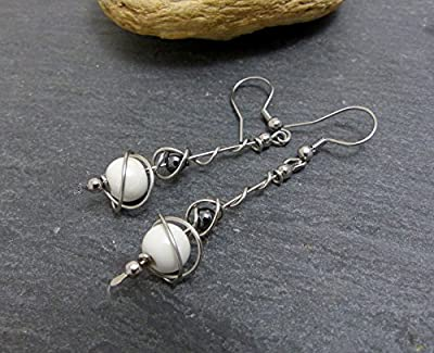 Boucles d'oreilles blanc gris, céramique hématite et acier inoxydable (A18)