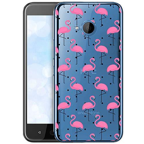 OOH!COLOR Schutzhülle Kompatibel mit HTC U11 Life Hülle Silikon Case Handy Tasche transparent Bumper mit Coolen Aufdruck Motiv Vögel rosa Flamingo (EINWEG)