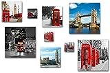 London England Bilder Set, 9-teiliges Bilder-Set, moderne seidenmatte Optik auf Forex, frei positionierbare schwebende Anbringung, UV-stabil, wasserfest, Kunstdruck für Büro, Wohnzimmer, XXL Deko Bild