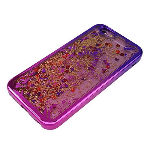 Handyhülle iPhone 6S Treibsand Schale 4.7 Zoll, iPhone 6 Flüssig Hülle, Moon mood® iPhone 6S 6 Durchsichtige Handyhülle 3D Creative Case Mode Bunten Transparente Kristallklaren Sparkly Silikon TPU Wei T Blumen Rebe
