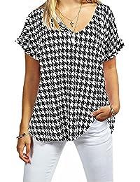 349c922d4c2 New Ladies Women V Neck Turn Up Short Sleeve Baggy T-Shirt Top Plus Size