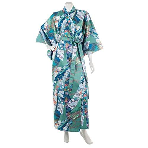 japanische grüne Schleife Baumwoll Yukata lange XL Robe (Authentische Kimono Japanische)
