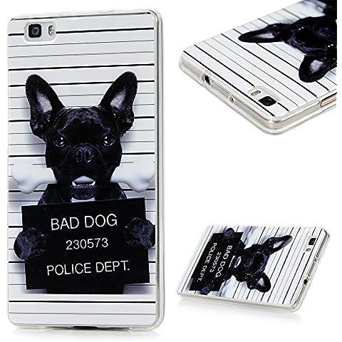 Huawei P8 Lite Funda, BADALink Carcasa original para Huawei P8 Lite Protective Case Cover (TPU Gel de Silicona Suave, ultrafina Slim Fit), diseño perro negro