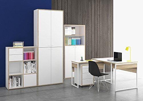 """Regal """"TORONTO"""" Highboard Büromöbel Regal Büro weiß Eiche"""