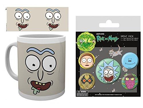 Set: Rick Y Morty, Rick Cara Taza Foto (9x8 cm) Y 1 Rick Y Morty, Set De Chapas (15x10 cm)