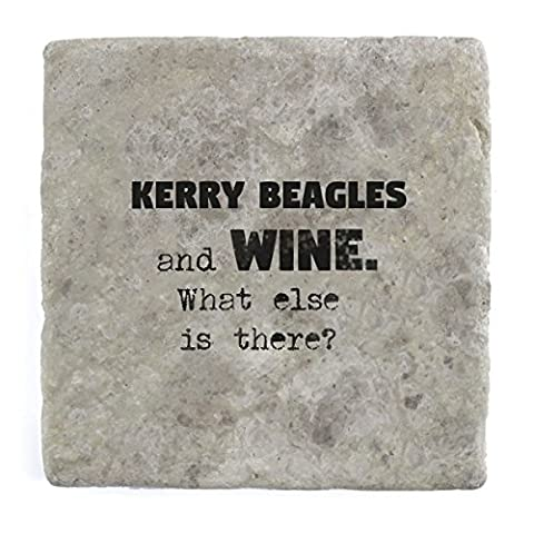 Kerry Beagles and wine what else is there? - Marble Tile Drink Coaster