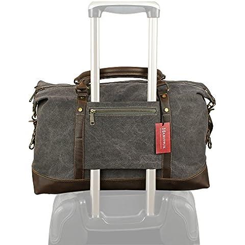 Bolsa de tela de cuero genuino Weekender Duffel - Bolsa de viaje Tote