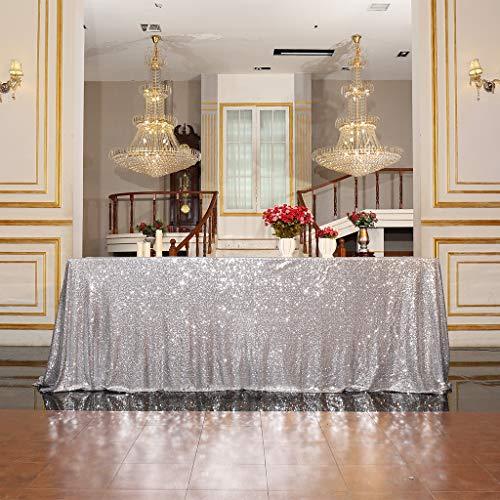 Eternal Beauty Pailletten Tischdecken für Hochzeit Halloween Chrismas Party Bankett, Textil, Silber, 122 * 183cm