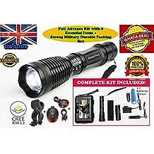 ST LED linterna táctica Kit. Brillante lámpara linterna con función de zoom 2000lúmenes, y 5luz modes-includes Cargador de batería, cargador de coche, Funda, soporte de ciclo y a recargable.