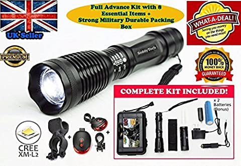 SeddyTech tactical flashlight Kit.Super Bright Waterproof LED torch light with 2000 Lumens,Zoom Function,5 Light Modes-Includes a Battery,Charger,Car charger,Holster,Cycle Mount & Taillight with Mount.Best for Bike Lights,Camping,Emergency,Patrolling &