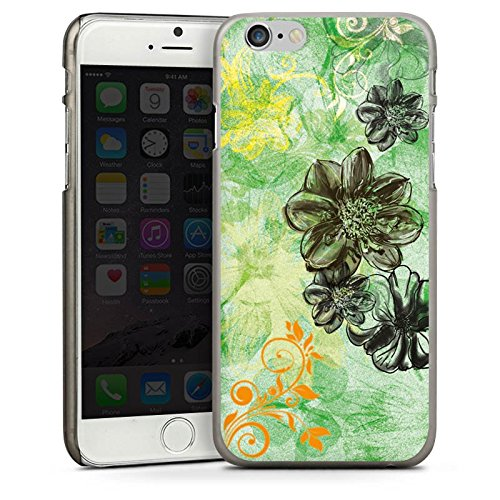 Apple iPhone 5s Housse Étui Protection Coque Fleurs Fleurs Ornements CasDur anthracite clair