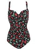 Imposes Donne Sexy Costumi Da Bagno Bikini Set Monokini con Fiore Stile Nero Floreale-S