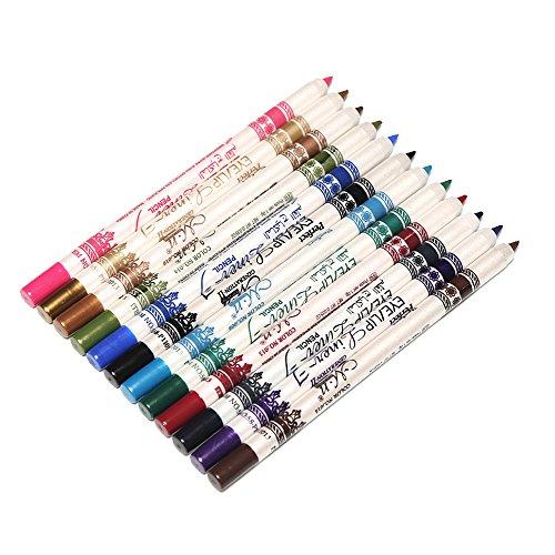 12 PCs 12 Couleurs Crayon Eye-Liner Crayon Eye-Shadow Fard à Paupière Contours des Lèvres,Longue Durée Maquillage Cosmétiques PEN