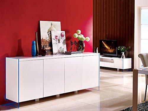 Habitat et Jardin - Buffet LED Fiona - 201 x 40 x 86 cm - Blanc laqué