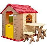 Maison de Jeu en Plastique | Maison de Jardin pour Enfants | Maisonnette + 1 Table + 2 Tabouret | pour intérieur et extérieur
