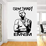 zqyjhkou Nuovi Adesivi Murali Veri per Camerette Eminem Rapper Adesivo da Parete in Vinile Decorazioni per L'Arte Ragazzi Room Living Decalcomanie Rimovibili D670 87 x 58 cm