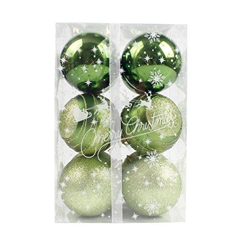 Weihnachtskugeln Set 12 stücke Runde Weihnachtsbäume Dekoration Weihnachtskugeln Dekorationen Kugeln Party Hochzeit Ornament Zwei Verschiedene größe 6 cm / 8 cm (6 cm, Grün)