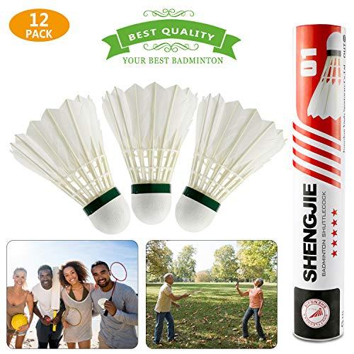 Bádminton,Buluri 12-Pack Bolas de bádminton natural de pluma de ganso de alta velocidad con gran elasticidad y durabilidad para deportes al aire libre de interior Ejercicio Juegos