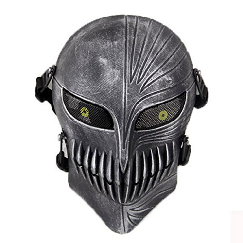 Death Face Schädel Skelett Full Face Schutzmaske für Jagd Tactical Military Kostüm Halloween Silver Black @ ()