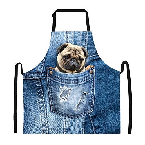 ürzen Mops Cute Demin Blue Schürzen Küchenbedarf zum Kochen Erwachsener Schürzen Cool ()