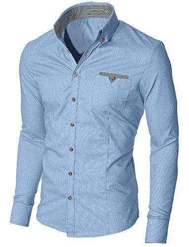 Luxe élégant hommes occasionnels mince amincissent les belles chemises à carreaux Slim collection maillot de Fit Bleu