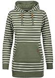 Blend She Cloey Damen Kapuzenpullover Hoodie Long Sweatshirt mit Fleece-Innenseite Longline Sweat-Kleid aus Hochwertiger Baumwollmischung, Größe:S, Farbe:Ivy Green (77026)