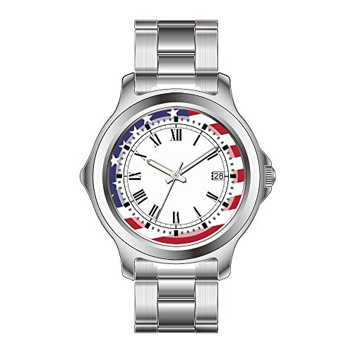 FDC Weihnachten Geschenk Uhren Damen Fashion Japanisches Quarz-Datum Edelstahl Armband Uhr Amerikanische Flagge-Celebrate the USA-Juli 4Klassische Armbanduhr