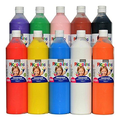 PICCOLINO Fingerfarben Set - 10 Flaschen à 750ml (880g): rot, gelb, orange, rosa, violett, blau, grün, braun, schwarz, weiß