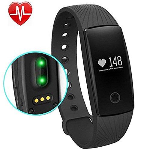 Fitness Tracker mit Pulsmesser, AsiaLONG Fitness Armbänder mit Schrittzähler Aktivitätstracker,Schlafmonitor,Touchscreen, Kalorienzähler,Vibrationsalarm Anruf SMS Whatsapp Für Android/ iOS Handy