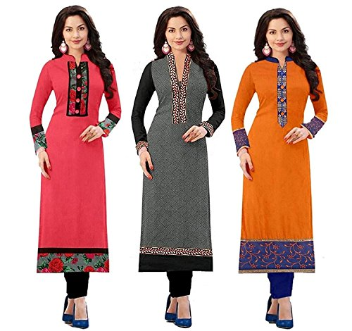 Rensil Women's Cotton Combo Of 3 Semi-Stitched Kurti (Multicolor_Free Size)