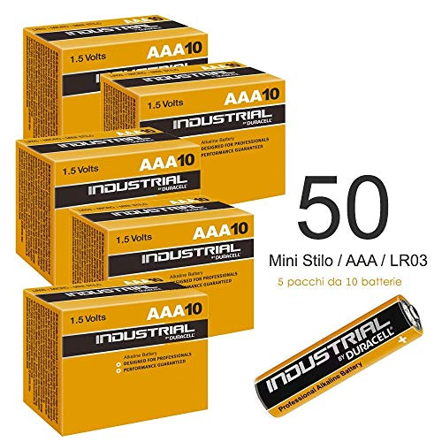 Duracell 50x Industrial batterie alcaline AA 1.5V LR6MN1500Ricambio PROCELL AA, Confezione da 50