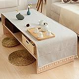 vbimlxft- Nappe de Café de Style Japonais Nordic Cotton Petit Tapis de Table de Cabinet Fresh TV Rectangulaire Nappe (Couleur : Gray, taille : 50X150cm)