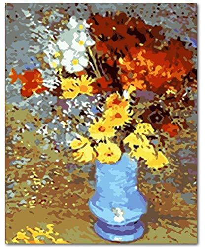 h Zahlen Farbige Gänseblümchen-Blume DIY- Ausrüstungen, Die Farbe Durch Zahlen Modernes Wandkunst-Bild-Geschenk Färben(40X50Cm) ()