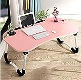 WY-ZDDNZ Tabelle, Bodenständig Falten Computertisch, Multifunktion Sofa/Bett / Büro Einfacher Lerntisch, Holzbrettmaterial, Rosa/Schwarz / Grün, Tragende 5KG (Farbe : Pink)
