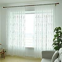 Vanpower Moderno bordado deja ventana de proyección cortina habitación Tul Sheer (blanco)