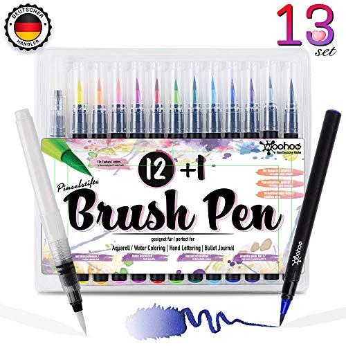 woohoo4u® Brush Pen Set Pinselstifte - [ 12+1 ] Bullet Journal Zubehör Stifte für Hand-Lettering/Kalligraphie Set Zeichnungen und bildschöne Aquarell/Watercolor Effekte - Stift Echtpinsel-Spitze -