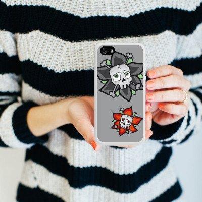 Apple iPhone 5s Housse Étui Protection Coque Fleurs Fleurs Tête de mort Housse en silicone blanc