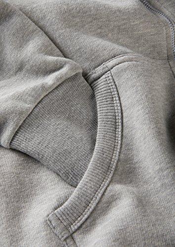 Charles Wilson Herren Kapuzenpulli mit Reißverschluss aus mittelschwerer Baumwollmischung Grau Meliert
