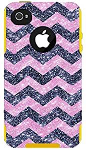 OtterBox Commuter Series Case for iPhone 4 4S - Custom Glitter Case for iPhone 4 4S - Smoke Small Chevron Light Pink/Yellow