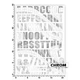 Bogengröße A4 - Alphabet - Buchstaben - Letters - ABC IN 15 FARBEN - Neon + Chrom! Sticker Aufkleber