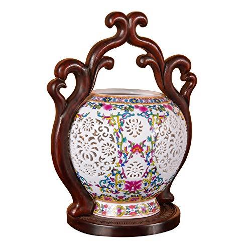 Mahagoni Im Chinesischen Stil, Das Gelbe Birnen-Tischlampe Der Weinlese Schnitzt Chinesische Luxus-Led-Lampen Keramische Schlafzimmer-Nachttischlampen-Feriengeschenke - Stil Mahagoni Schreibtisch