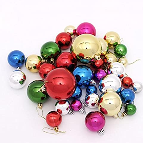 Kolylong 36PC multicolor Christmas 6cm Plastic Christmas Tree Decoration Ball (Colorful)