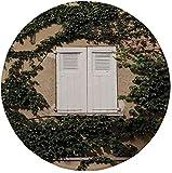 """Tappetino per mouse rotondo in gomma antiscivolo, decoro persiane, otturatore culturale antico in legno mediterraneo circondato da edera stampa immagine, verde bianco ecrù, 7.9""""x7.9""""x3MM"""