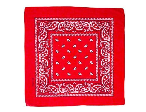 shenky 12er Pack Bandana Kopftuch Bikertuch Halstuch Paisley Muster Hunde Tuch Tücher schwarz apfelgrün rot weiß 100% Baumwolle (rot) (Hunde Cowgirl Kostüm)