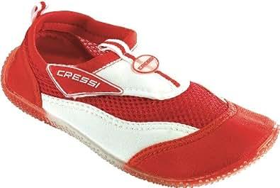 Cressi Coral Junior VB945135 Unisex - Kinder Badeschuhe, rot/weiß, 35