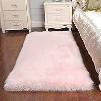 Faux Sheepskin Rug ,Rectangular,Fur Faux Fleece Fluffy Area Rugs Anti-Skid Yoga Carpet for Living Room Bedroom Sofa Floor Rugs (Pink, 23.6 x 35.4 inch)