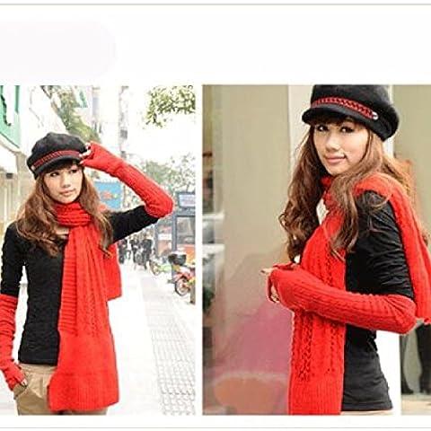 KHSKX Fashion ladies long lane flanella Principessa Manicotto tubo braccio metà esposta significa perdita di caldo inverno guanti,rosso