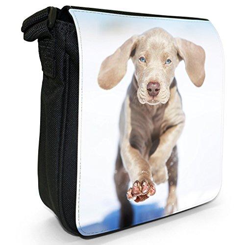 Weimaraner vorstehhund Grigio fantasma Cane Piccolo Nero Tela Borsa a tracolla, taglia S Running Blue Eye Puppy