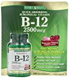 Nature'S Bounty Sublingual Vitamin B-12 2500 Mcg With Cherry Flavor - 250 Microlozenges