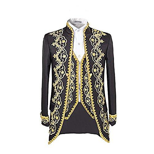 Da uomo elegante Casual Vestito Tuta aderente elegante Blazer Cappotti Giacche e Gilet e pantaloni nero Black large